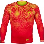 Компрессионная футболка Venum Fusion Compression T-shirt - Orange Yellow Long Sleeves