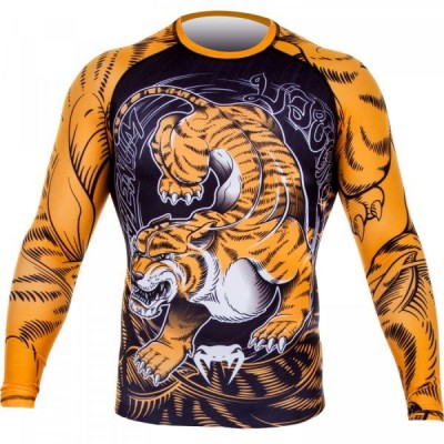 Рашгард Venum Tiger Rash Guard - Long Sleeves - Black/Orange